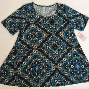 LulaRoe 2XL Perfect T Tee Shirt NEW blue geometric